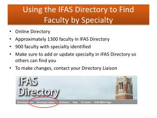 Using the IFAS Directory to Find Faculty by Specialty