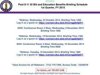 *Webinar, Wednesday, 22 October 2014, Briefing Time 1300