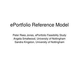 ePortfolio Reference Model