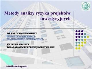 Metody analizy ryzyka projekt w inwestycyjnych