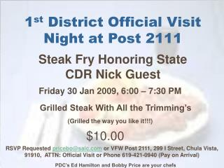 1 st  District Official Visit Night at Post 2111