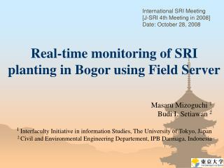 Real-time monitoring of SRI planting in Bogor using Field Server