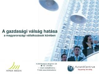 A gazdasági válság hatása a magyarországi vállalkozások körében