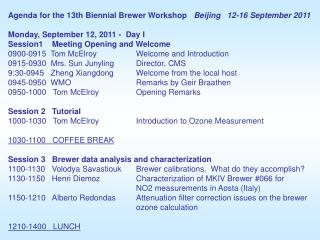 Agenda for the 13th Biennial Brewer Workshop    Beijing   12-16 September 2011