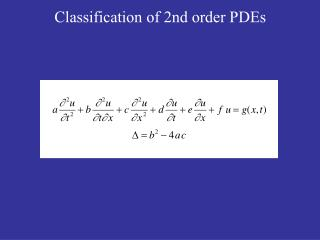 Classification of 2nd order PDEs