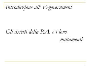 Introduzione all' E-government