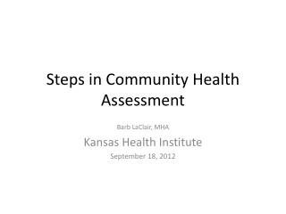 Steps in Community Health Assessment