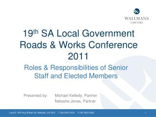 19 th  SA Local Government Roads & Works Conference 2011