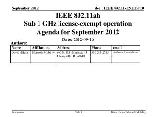 IEEE 802.11ah Sub 1 GHz license-exempt operation Agenda for September 2012