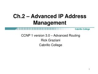 Ch.2   Advanced IP Address Management