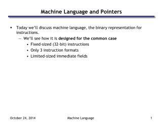 Machine Language and Pointers