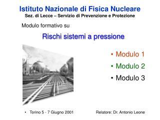 Istituto Nazionale di Fisica Nucleare  Sez. di Lecce – Servizio di Prevenzione e Protezione