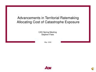 Advancements in Territorial Ratemaking Allocating Cost of Catastrophe Exposure