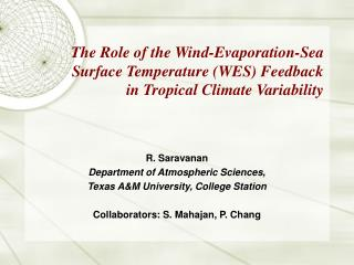 R. Saravanan Department of Atmospheric Sciences, Texas A&M University, College Station