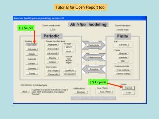 Tutorial for Open Report tool