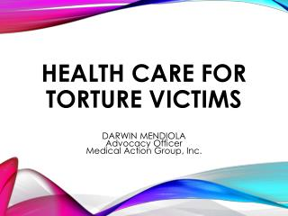 Health care for torture victims