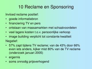 10 Reclame en Sponsoring