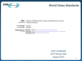 SCP(14)000229 SCP Plenary #65 August 2014