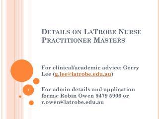 Details on  LaTrobe  Nurse Practitioner Masters