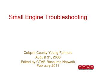 Small Engine Troubleshooting