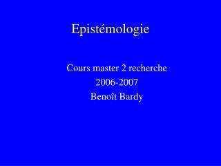 Epistémologie