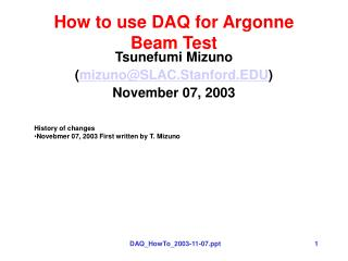 How to use DAQ for Argonne Beam Test