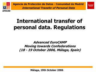 International transfer of personal data. Regulations