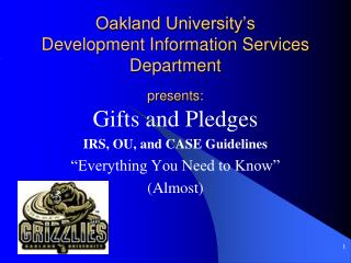 Oakland University's Development Information Services Department presents: