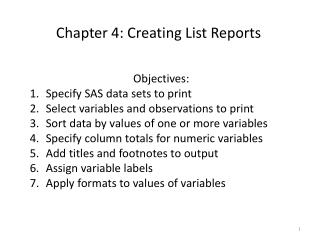 Chapter 4: Creating List Reports