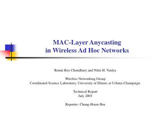 MAC-Layer Anycasting  in Wireless Ad Hoc Networks