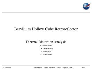 Beryllium Hollow Cube Retroreflector