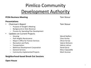 Pimlico  Community  Development Authority