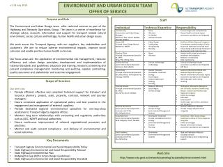 ENVIRONMENT AND URBAN DESIGN TEAM OFFER OF SERVICE