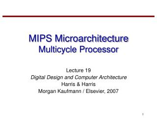 MIPS Microarchitecture Multicycle Processor