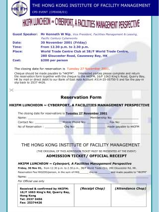 THE HONG KONG INSTITUTE OF FACILITY MANAGEMENT CPD EVENT (CPD008/01)