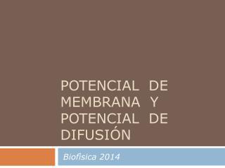 potencial  de membrana  y Potencial  de difusión