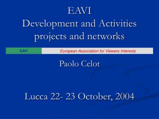 EAVI  Development and Activities projects and networks Paolo Celot Lucca 22- 23 October, 2004