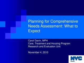 Planning for Comprehensive Needs Assessment: What to Expect