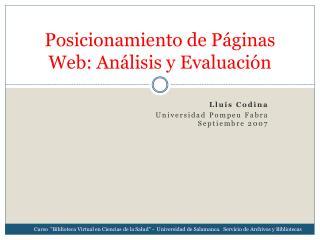 Posicionamiento de P�ginas Web: An�lisis y Evaluaci�n