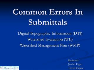 Common Errors In Submittals
