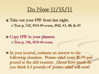 Do Now 11/15/11