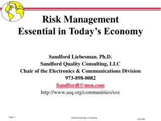 Risk Management  Essential in Today's Economy