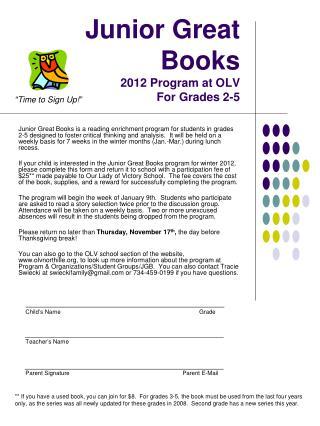 Junior Great Books 2012 Program at OLV For Grades 2-5