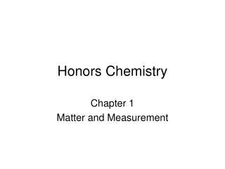 Honors Chemistry