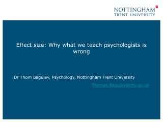 Effect size: Why what we teach psychologists is wrong