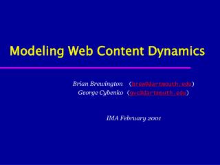 Modeling Web Content Dynamics