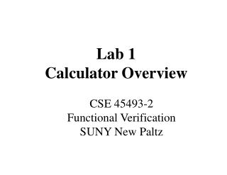 Lab 1 Calculator Overview