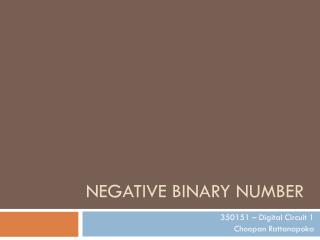 Negative Binary Number