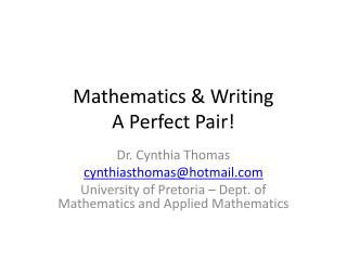 Mathematics & Writing A Perfect Pair!