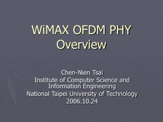 WiMAX OFDM PHY Overview